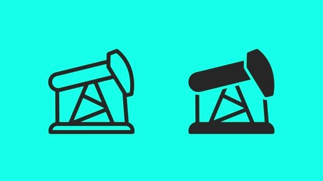 vídeos de stock, filmes e b-roll de ícones de poço de petróleo - vector animar - poço de petróleo