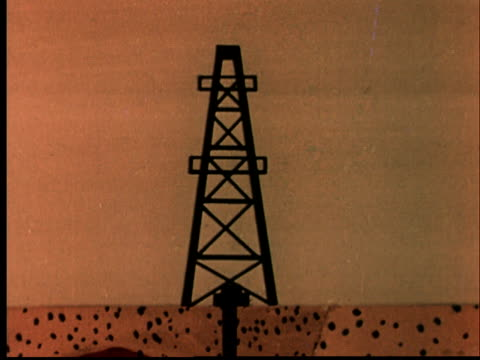 1956 ANIMATION MS Oil well/ ZO WS More oil wells appearing in row with cross section of underground drilling