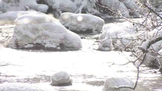 cu, oirase stream in winter, aomori, japan - oirase river stock videos & royalty-free footage