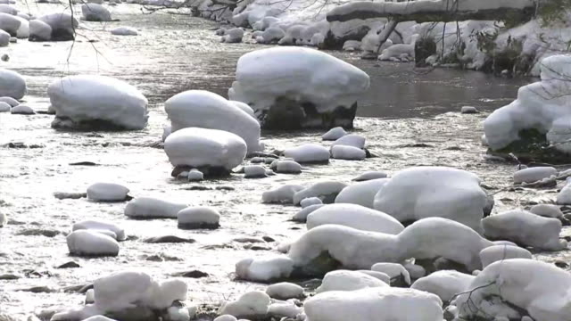 cu, oirase stream with stones in winter, aomori, japan - oirase river stock videos & royalty-free footage