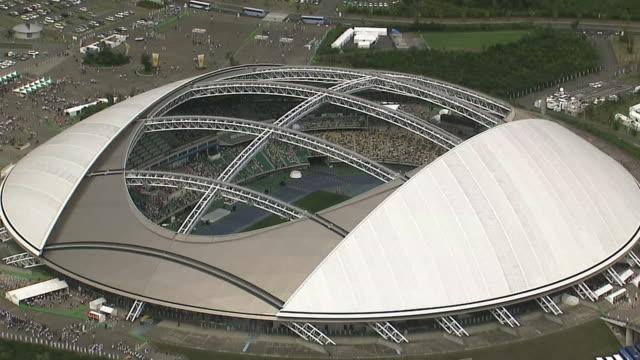 aerial, oita stadium, oita, japan - 丸屋根点の映像素材/bロール