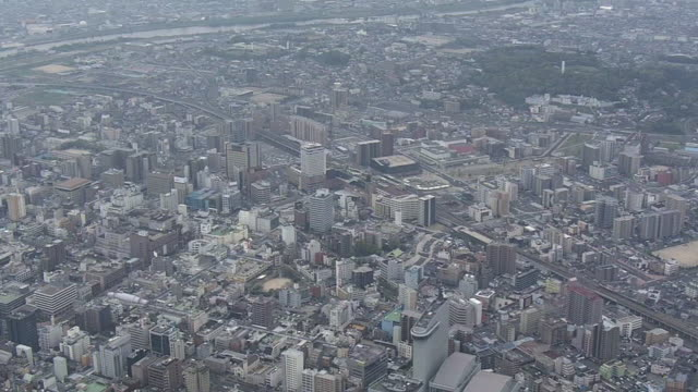 aerial, oita station, oita, japan - oita city stock videos & royalty-free footage