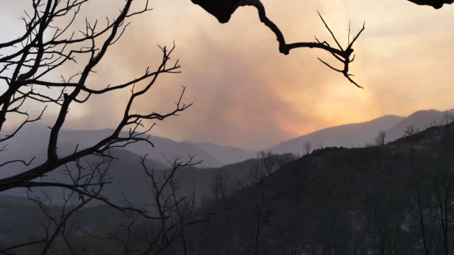 Smoke rises with the sun as the Thomas Fire is seen burning on a ridge beyond a charred canyon landscape in Los Padres National Forest along...