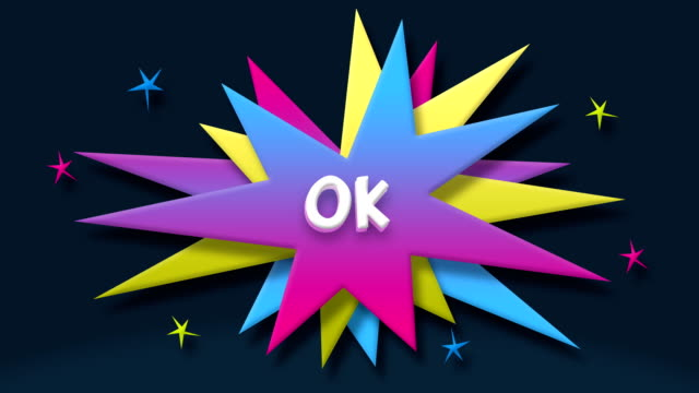 ok text in speech balloon with colorful stars - speech bubble stock videos & royalty-free footage