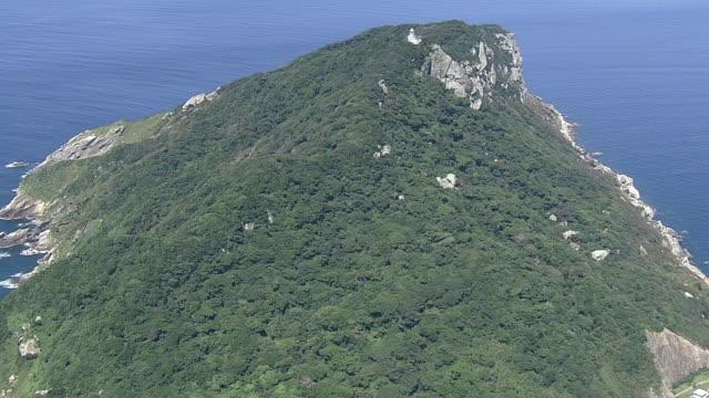 aerial, okinoshima island, fukuoka, japan - desert island stock videos & royalty-free footage