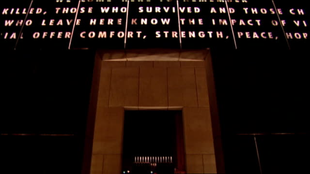 cu oklahoma city memorial archway writing - oklahoma city bombing stock videos & royalty-free footage