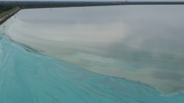 oklahoma city, ok, u.s. - drone view of lake hefner with a huge blue and green algae bloom on monday, june 28, 2021. a potentially toxic blue-green... - water surface stock videos & royalty-free footage