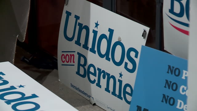 kfor oklahoma city ok us placards in bernie sanders campaign headquarters on super tuesday oklahoma city on tuesday march 3 2020 - male likeness stock videos & royalty-free footage