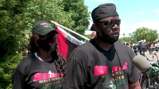 oklahoma city, ok, u.s. - protestors speaking out during a black gun owners rally to bring awareness to their second amendment rights, on saturday,... - interview stock videos & royalty-free footage