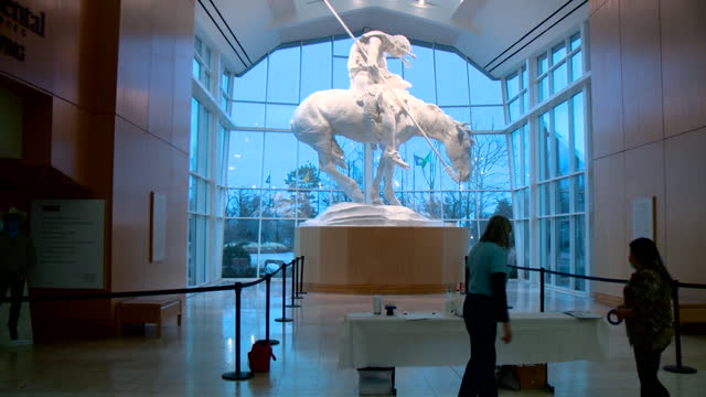 oklahoma city, ok, u.s. - statue in the national cowboy hall of fame during covid-19 vaccination on wednesday, january 27 2021. 1,600 doses of the... - male likeness stock videos & royalty-free footage