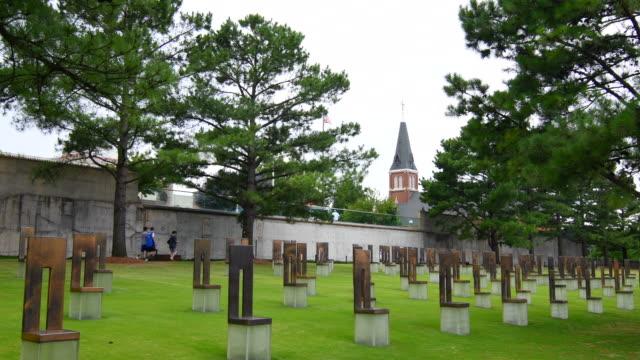 vídeos de stock e filmes b-roll de oklahoma city oklahoma ok, okc, historical disaster okc bombing remains at okc bombing memorial that happened on april 19, 1995 - 1995