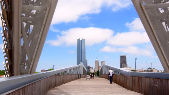 Oklahoma City Oklahoma OKC City scape and the new Sky Dance Bridge over Expressway with skyline