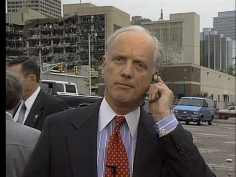 oklahoma governor frank keating comments on the seriousness of the terrorist attack immediately after the murrah federal building bombing. - oklahoma city bombing stock videos & royalty-free footage