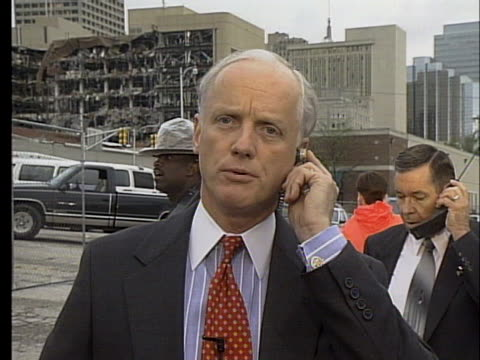 oklahoma governor frank keating describes the devastation and casualties in the immediate aftermath of the murrah federal building bombing. - oklahoma city bombing stock videos & royalty-free footage