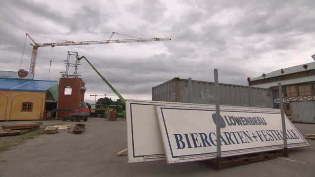oktoberfest is building up, outdoor, construction crane - crane construction machinery stock videos & royalty-free footage