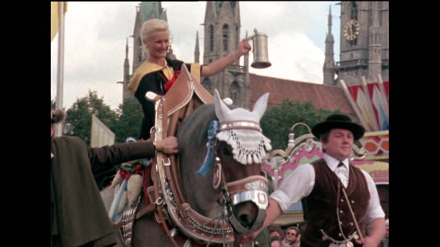 oktoberfest parade, heavy horses and marching band; 1978 - german culture stock videos & royalty-free footage
