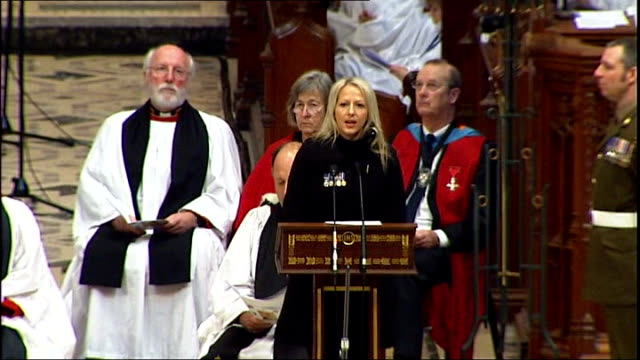 vídeos y material grabado en eventos de stock de interview wife t24110918 truro cathedral int christina schmid speaking at olaf schmid's funeral sot becoming his widow is hardest thing i have ever... - widow