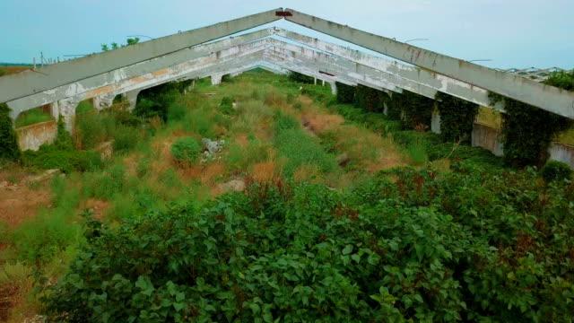 old abandoned architectural construction at summer field - abbandonato video stock e b–roll