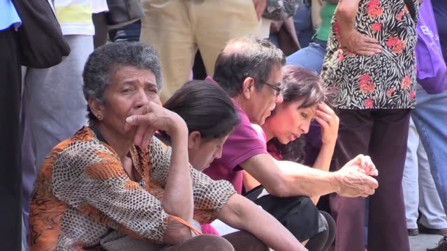 Old age pensioners in Venezuela queue for hours to withdraw their meager pension the equivalent to half a kilo of meat when power cuts don't impede...