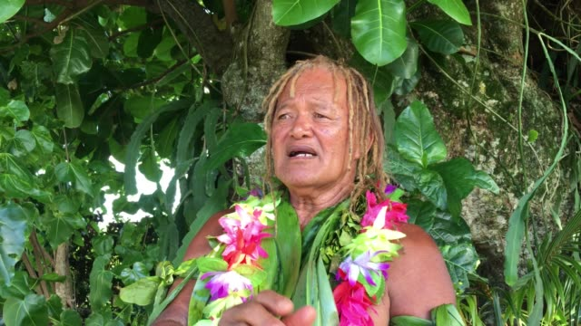 stockvideo's en b-roll-footage met old aged pacific islander man talking under a rain forest tree - polinesische cultuur