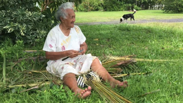 Old aged Pacific Islander woman prepares a broom from a coconut tree leaves