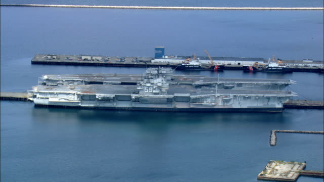 old aircraft carrier - aerial view - rhode island, newport county, united states - carrying stock videos & royalty-free footage