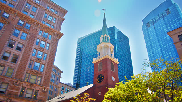 old and modern. church, residential building and financial building. boston - brick stock videos & royalty-free footage