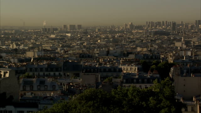 Old and new architecture spans the horizon across the skyline of Paris. Available in HD.