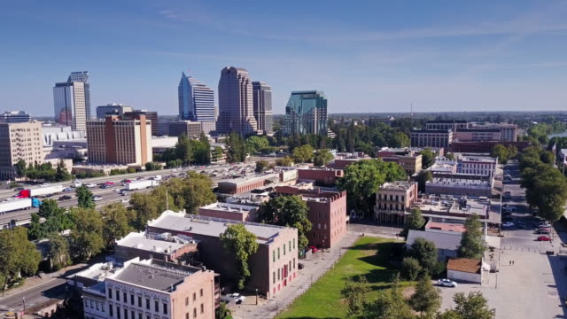 Old and New Sacramento - Aerial Shot
