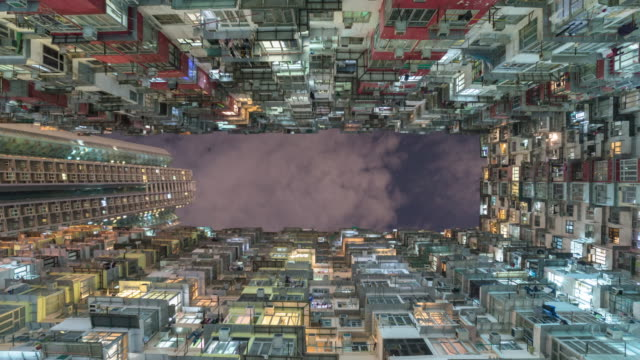 old apartment building in hong kong with sky
