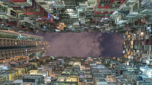 alten Mietshaus in Hong Kong mit Himmel, Panning richtige Video.