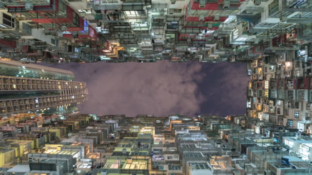old apartment building in hong kong with sky,zoom out video. - unemployment stock videos and b-roll footage