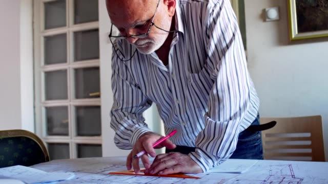 old architect working from home - blueprint stock videos & royalty-free footage