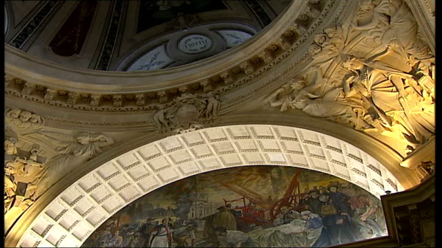 old bailey court one hundred years old painted relief on wall beneath dome tilt down bayles tour low angle shot of roof of grand hall statue of woman... - relief carving stock videos & royalty-free footage