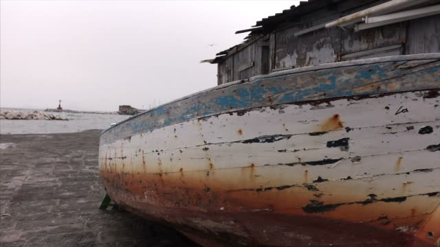old boat on port of naples - coastal feature stock videos & royalty-free footage