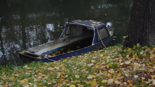 old boat on the canal - utrecht stock videos and b-roll footage