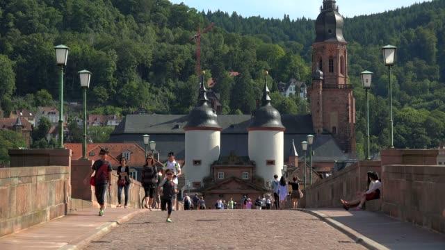 old bridge and bridge gate, heidelberg, neckar river, baden-wurttemberg, germany, europe - heidelberg germany stock videos & royalty-free footage