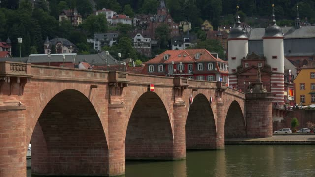old bridge and bridge gate, neckar river, heidelberg, baden-wurttemberg, germany, europe - neckar river stock videos & royalty-free footage