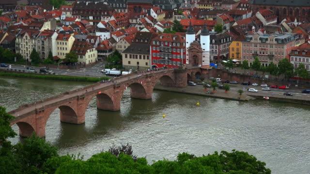 old bridge over neckar river - neckar river stock videos & royalty-free footage