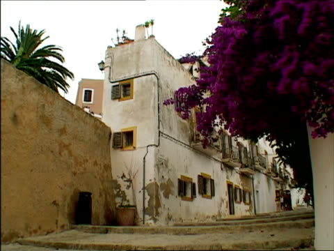 ms, old buildings at narrow street, ibiza, spain - narrow stock videos and b-roll footage