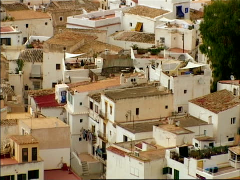 ms, ha, old buildings rooftops, ibiza, spain - stationary process plate stock videos and b-roll footage
