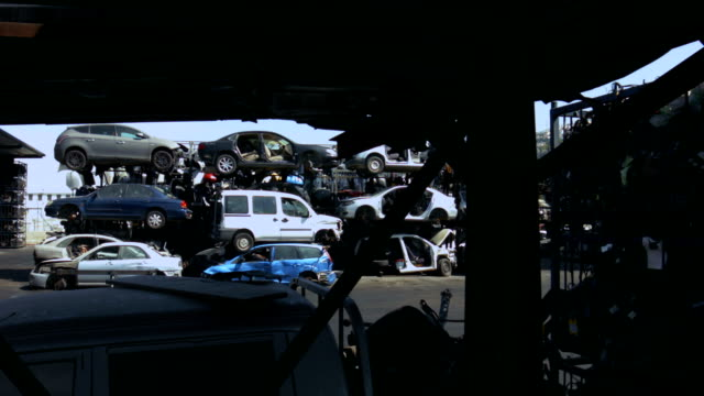 Old cars junkyard