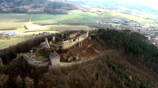 old castle ruin - helicopter point of view stock videos & royalty-free footage