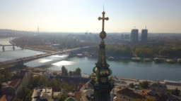 Old cathedral and Belgrade waterfront from aerial point of view