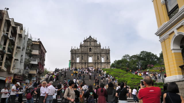 old church ruins of st.paul's church in macau city china - ruins of st. paul's macao stock videos & royalty-free footage