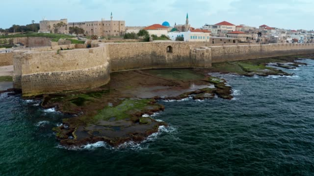 old city acre fortress on the stone coastline of sea - akko stock videos and b-roll footage