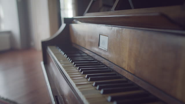 Old classical Piano keyboard close up