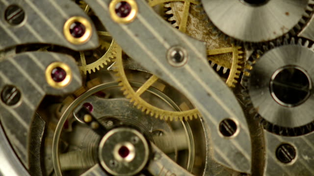 Old clock mechanism working
