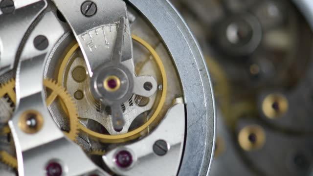 old clock mechanism working - wrist watch stock videos & royalty-free footage