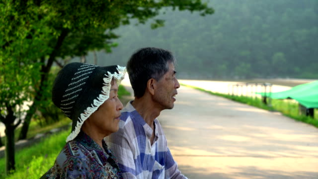 old couple talking while sitting on bench and walkway at museommaeul village / yeongju-si, gyeongsangbuk-do, south korea - retirement stock videos & royalty-free footage
